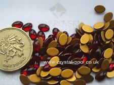 18 X Swarovski 6mm X 4mm Ruby gold-foiled # 2190/4 Cabuchones