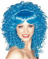 Blue Curly Wig adult female show girl clown theatrical costume long tight Rubies
