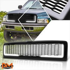 For 94-02 Dodge Ram Honeycomb Mesh ABS Plastic Front Bumper Hood Grill w/LED DRL