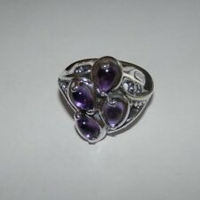 Carolyn Pollack Amethyst Cluster Sterling Silver Ring Size 8
