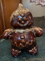 Vintage Hull Pottery Gingerbread Man Cookie Jar with Brown Drip Glaze