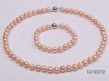 Fashion 8-9mm Pink Round Real Cultured Freshwater Pearl Necklace Bracelet Set