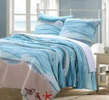 Seaside Blue * King * Quilt Set : Beach House Coral Ocean Shell Maui Comforter
