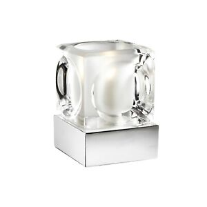 Silver Chrome Ice Cube Glass Dimmable Touch Table Lamp Ideal For Bedside RRP £15