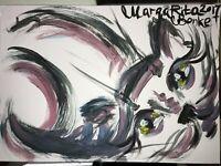 ORIGINAL katze MALEREI PAINTING zeichnung cat contemporary ART NAIV BILD A4 10