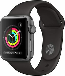 Apple Watch Series 3 (GPS, 38mm) Space Gray Aluminum Case/Black Sport Band New!!