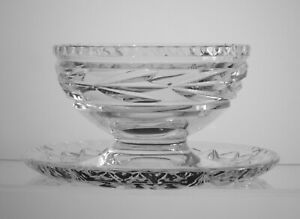Mayonnaise Bowl w Underplate, Laurel Cut Crystal for Preserves, Condiments, Nuts