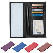 New Leather Checkbook Cover Card Holder Wallet Unisex RFID Blocking W/ ID Window