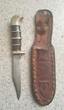 "Sheffield Williams England Bowie Fighting Knife -""EBRO"" Indian Chief Sheath"