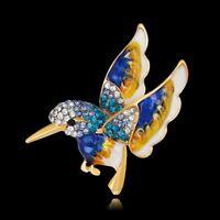 Women Charm Crystal Rhinestone Enamel Animal Bird Brooch Pin Bouquet Jewellery