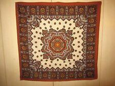 100% Wool 28x28 Nasharr Gothic Mosaic Brown Foulard Scarf Japan Rare Excellent