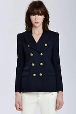 VTG Balenciaga Paris Wool Gold Button Double Breasted Blazer Navy FR 40 BALMAIN