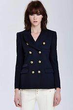 VTG Balenciaga Paris Wool Gold Button Double Breasted Blazer Navy FR 40 BALMAIN