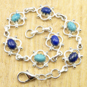 "925 Silver Plated Lapis Lazuli, Simulated Larimar LOBSTER LOCK Bracelet 8"" NEW"