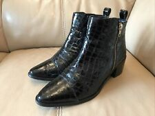 'FAITH' BLACK PATENT LEATHER MOCK CROC ANKLE BOOTS SIZE 7
