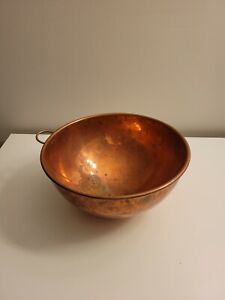 Solid LARGE COPPER MIXING BOWL WITH BRASS HANGING HOOK - Vintage
