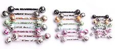 Fancy Speckled Colour Paint Flecked Straight Industrial Earring Helix Nipple Bar