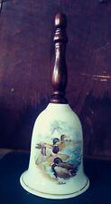 Porcelain Bell Ducks/Mallards - Wood Handle - Beautiful Ring