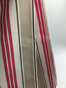 Deckchair Taupe Striped Curtain Fabric Material 137 cm wide