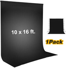 1Pack 10 x 16 ft. Black Color Muslin Backdrop for Photo Video Studio