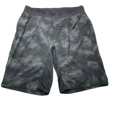 "Lululemon Men's T.H.E. Shorts Large 9"" Black Grey Camo Linerless - Baggy Fit"