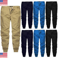 Mens Twill Jogger Pants Casual Urban Trousers Harem Active Hip Hop Slim Fit USA