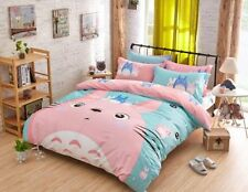 3pcs Totoro Pink Bed Sheet Gifts Duvet Cover Bedding Cartoon Twin Size Quilt Set