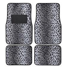 New 4pc Set Safari Leopard Snow Gray Front Rear Back Car Truck Carpet Floor Mats