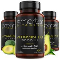 SmarterVitamins VITAMIN D3 5000 IU with Organic Avocado Oil + Soy Free, Non-GMO