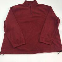 Croft & Barrow Fleece Jacket Mens 2XL Red 1/4 Zip Mock Neck Insulated Pullover