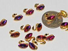6pc Miniature bead TINY little Golden Crystal SWAN charm flat back Easter animal