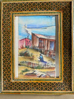"Lewis J Miller ""Male In Landscape Scene"" Watercolor Painting - Signed/Framed"