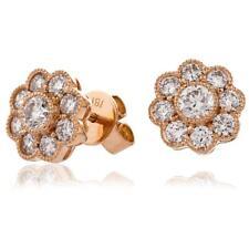 1.10ct F VS Diamond Daisy Earrings for Pierced Ears in 18ct Rose Gold
