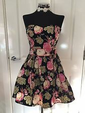 Ladies Black & Pink Floral  Strapless Dress With Petticoats Size 10 New Look
