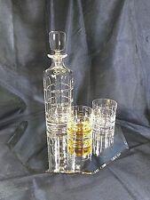 Crystal Glasses Whiskey Set Decanter 23 oz and 6 Tumblers 8 oz Bohemian Aurum