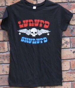 Official Ladies Lynyrd Skynyrd Winged Skull Licensed Black Cotton T Shirt
