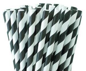 """Black And White Striped Paper Straws 8"""" (20cm) Biodegradable Compostable 6mm Dia"""