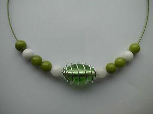 Halsreif Modeschmuck Halskette !!! XXL Bilder !!! grüne + weiße Glas Perlen