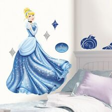 CINDERELLA GLAMOUR GiaNT WALL DECALS BiG Disney Princess Glittery Stickers Decor