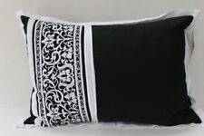 "ROYAL HERITAGE ""SANTORINI"" EMBROIDERED DECORATIVE PILLOW - BLACK/WHITE"