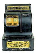 Vintage 1931 Uncle Sam's Metal 3 Coin Cash Register Bank Durable Toy & Novelty