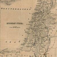 Modern Syria Cyprus Holy Land Palestine1850 Pashalic of Tripoli engraved old map