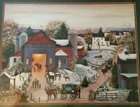 "Americana Folk Art Village ""Annual Winters Vet Visit "" Signed M A Vessey Framed"
