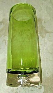Lime Green Art Glass CYLINDER VASE w/ Large Bubble in Clear Base Modern Elegant