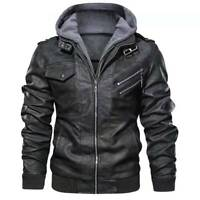 Men's Casual Stand Collar Leather Zip-Up Motorcycle Bomber Jacket removable Hood