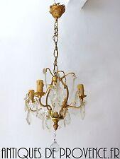 Superbe ancien lustre plafonnier pampilles 4 feux laiton déco charme 1900