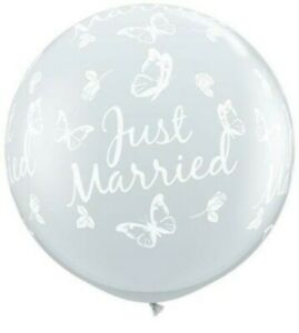 Diamond Clear Just Married Butterflies-A-Round 3ft Qualatex Latex Balloons