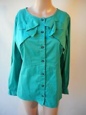 Veronika Maine green top shirt frilled Size 12  long sleeves