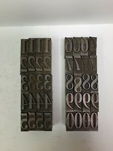 Vintage Linotype Numbers. 4 Each of 0 Thru 9. Great Shape 40 Total Pcs
