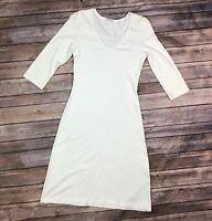 PJ Harlow Women's Stretchy White Ribbed Knit V-Neck Bodycon Sheath Dress XS